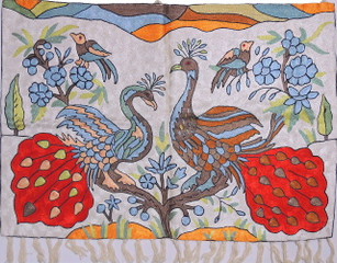 """Ivory Peacock Embroidered Wall Rug - Crewel Chain Stitch Tapestry 36"""" x 24"""""""