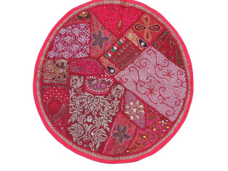 Pink Large Round Floor Pillow Cover - Ethnic Seating Beaded Indian Cushion 26""