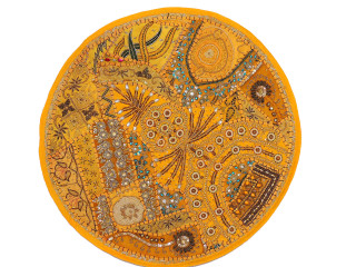 Yellow Round Oversize Floor Pillow Cover - Ethnic Seating Beaded Indian Cushion 26""
