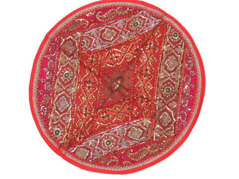 Red Round Sari Sequin Pillow Cover - Floor Seating Decorative Indian Cushion 26""
