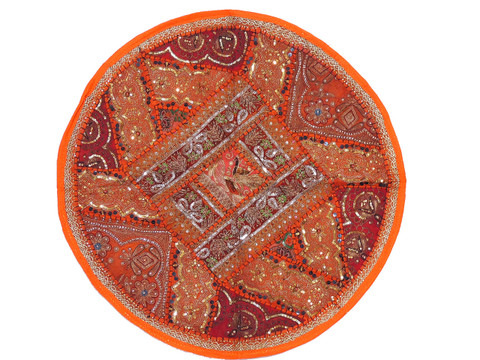 Orange Round Sari Sequin Pillow Cover - Floor Seating Decorative Indian Cushion 26""