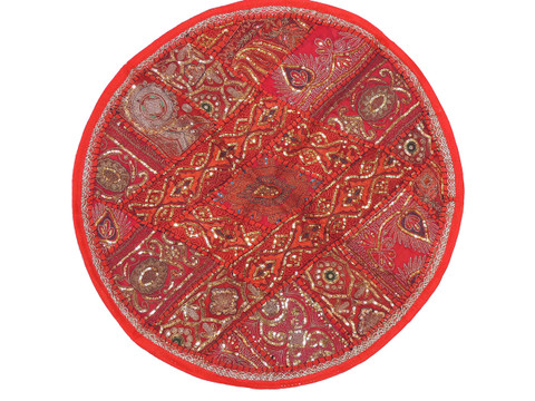 """Red Round Unique Pillow Cover - Floor Seating Decorative Indian Cushion 26"""""""