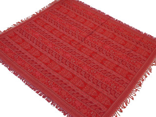 "Maroon Floral Wool Woven Ethnic Tablecloth - Rectangular Fringed Table Overlay 54"" x 60"""
