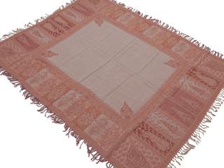 "Brown Ivory Pink Paisley Wool Ethnic Tablecloth - Rectangular Fringed Table Overlay Throw 54"" x 60"""