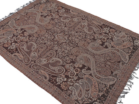 """Brown Paisley Wool Elegant Tablecloth - Rectangular Fringed Ethnic Table Overlay Throw 90"""" x 60"""""""