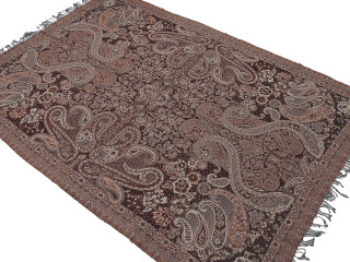 "Brown Paisley Wool Elegant Tablecloth - Rectangular Fringed Ethnic Table Overlay Throw 90"" x 60"""