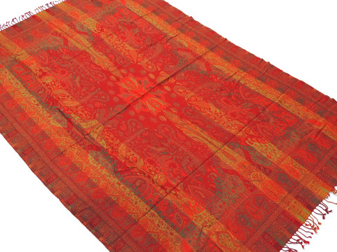 "Venetian Red Paisley Wool Elegant Tablecloth - Rectangular Fringed Ethnic Table Overlay Throw 90"" x 60"""