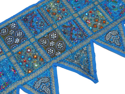 Blue Window Valance Door Topper - Kundan Work Elegant Handmade Toran 60""