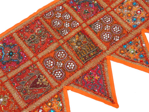 Burnt Orange Window Valance Door Topper - Kundan Work Elegant Handmade Toran 60""