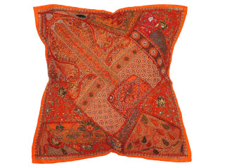 Orange Large European Square Pillow Case ~ Tapestry Floor Handmade Cushion ~ 26 Inch
