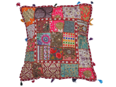 Designer Multicolor European Pillow Case ~ Tapestry Floor Square Handmade Cushion ~ 26 Inch
