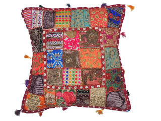 Handmade Multicolor Euro Pillow Case ~ Beaded Patchwork Tapestry Floor Cushion ~ 26 Inch