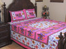 Pink Elephant Procession Cotton Printed Sheet Set – Ethnic Bedding Pillowcases ~ Queen