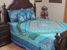 Blue Indian Inspired Sari Bedding - Beaded Duvet with Pillows Cushion Covers ~ King