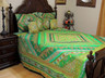 Green Indian Inspired Sari Bedding - Beaded Duvet with Pillows Cushion Covers ~ King