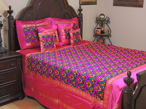 Hot Pink Parakeet Pair Embroidery Bedding Set - Duvet Cover with Pillow Shams ~ King