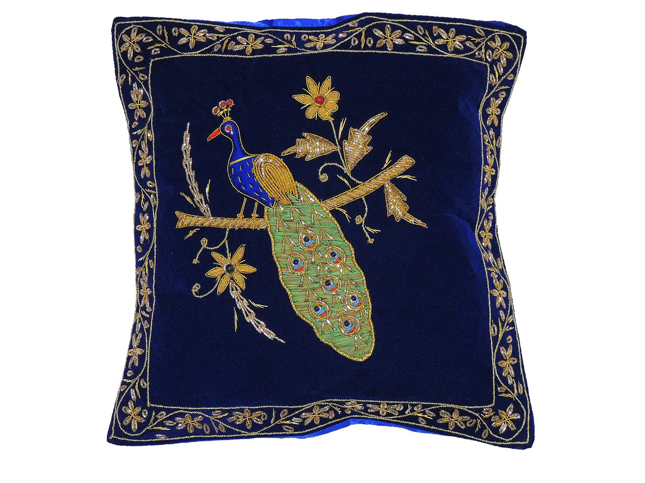 Fine Blue Decorative Peacock Pillowcase Dabka Handmade Velvet Couch Cushion Theyellowbook Wood Chair Design Ideas Theyellowbookinfo