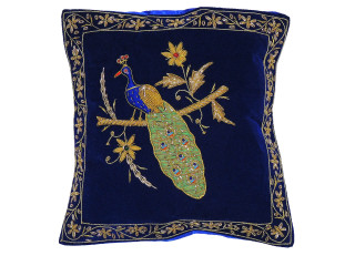 Blue Decorative Peacock Pillowcase Dabka Handmade Velvet Couch Cushion