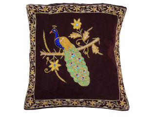 Brown Decorative Peacock Pillowcase Dabka Handmade Velvet Couch Cushion