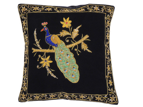 Black Decorative Peacock Pillowcase Dabka Handmade Velvet Couch Cushion