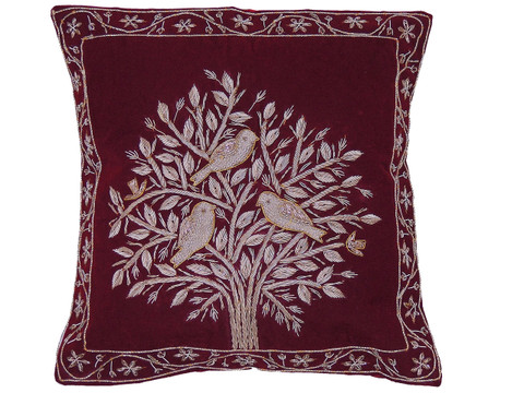 Burgundy Tree of Life Pillowcase Dabka Handmade Velvet Couch Cushion 16""