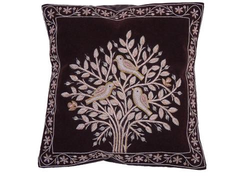 Brown Tree of Life Pillowcase Dabka Handmade Velvet Couch Cushion 16""