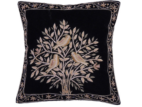 Black Tree of Life Pillowcase Dabka Handmade Velvet Couch Cushion 16""