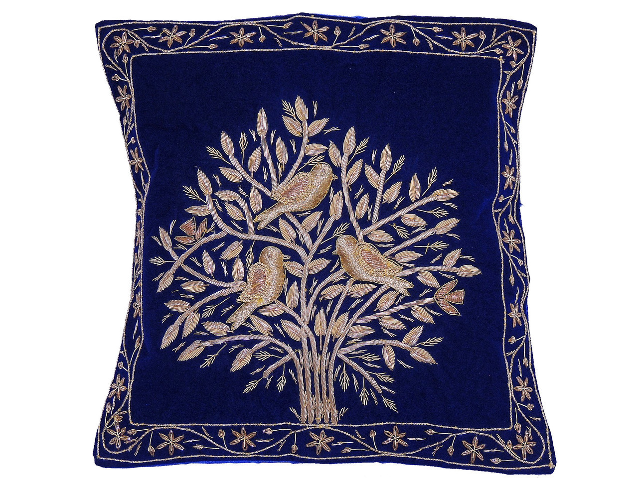 Groovy Blue Tree Of Life Pillowcase Dabka Handmade Velvet Couch Cushion 16 Theyellowbook Wood Chair Design Ideas Theyellowbookinfo