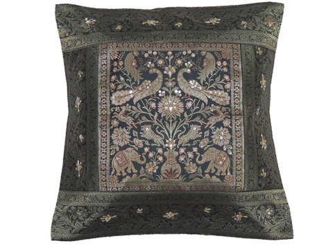 Green Gold Peacock Elephant Accent Pillow Cover - Zari Brocade Sequin Cushion 16""