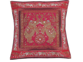 Magenta Gold Elephant Accent Pillow Cover - Zari Brocade Sequin Cushion 16""