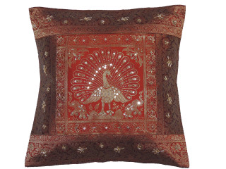 Rust Gold Dancing Peacock Accent Pillow Cover - Zari Brocade Sequin Cushion 16""