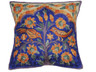 Blue Kashmir Tree of Life Cushion Cover - Crewel Embroidery Couch Pillow ~ 16""
