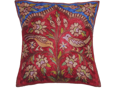 Maroon Kashmir Tree of Life Cushion Cover - Crewel Embroidery Couch Pillow ~ 16""