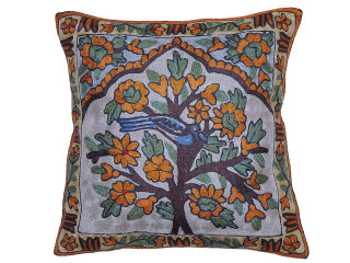 """Ivory Kashmir Tree of Life Cushion Cover - Crewel Embroidery Couch Pillow ~ 16"""""""