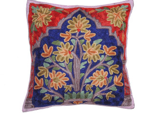 """Blue Kashmir Floral Bouquet Cushion Cover - Crewel Embroidery Couch Pillow ~ 16"""""""