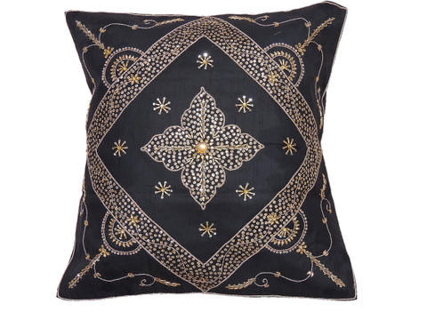 Black Stylish Beaded Floor Pillow Cover - Handmade Unique Dazzling Square Euro Sham 26""