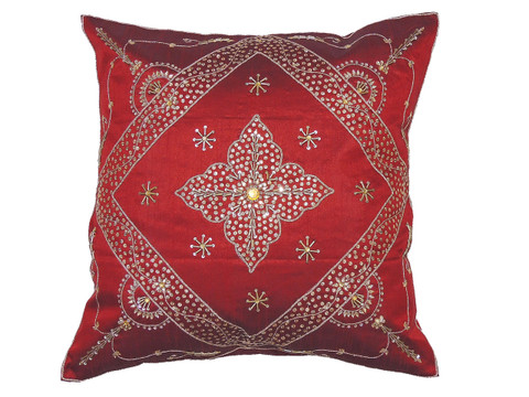 Burgundy Stylish Beaded Floor Pillow Cover - Handmade Unique Dazzling Square Euro Sham 26""
