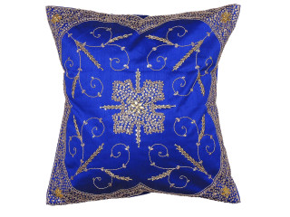 Blue Stylish Beaded Floor Pillow Cover - Handmade Unique Dazzling Square Euro Sham 26""