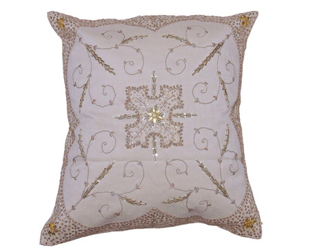 Ivory Beaded Zardozi Floor Pillow Cover - Handmade Unique Dazzling Square Euro Sham 26""
