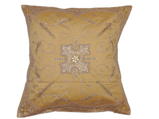Gold Stylish Beaded Floor Pillow Cover - Handmade Unique Dazzling Square Euro Sham 26""