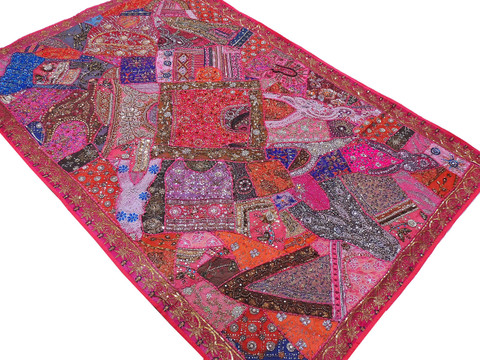 """Magenta Huge Indian Wall Hanging - Handmade Beaded Decorative Textile Tapestry 90"""""""
