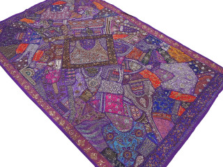 """Purple Indian Wall Hanging Tapestry - Handmade Beaded Decorative Huge Textile 90"""""""