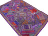 Purple Huge Handmade Wall Hanging Tapestry - Sari Beadwork Decorative Indian Textile 90""