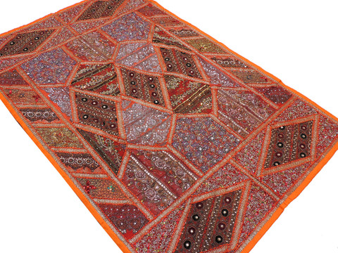 Orange Huge Handmade Wall Hanging Tapestry - Sari Kundan Decorative Indian Textile 88""