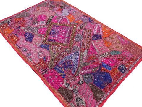 Hot Pink Huge Indian Wall Hanging - Handmade Beaded Decorative Textile Tapestry 90""