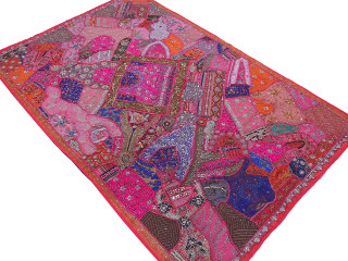"""Hot Pink Huge Indian Wall Hanging - Handmade Beaded Decorative Textile Tapestry 90"""""""