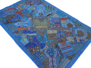 Blue Huge Decorative Wall Hanging - Handmade Beaded Ethnic Textile Tapestry 90""