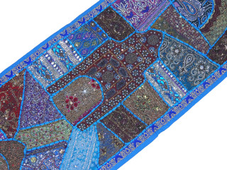 "Blue Sari Embellished Textile Tapestry - Indian Wall Hanging Sari Runner 60"" x 20"""