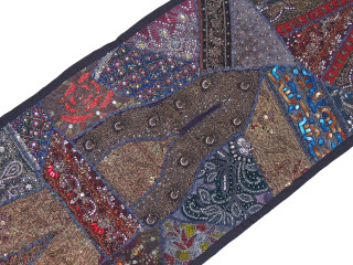 "Black Sari Embellished Textile Tapestry - Indian Wall Hanging Sari Runner 60"" x 20"""