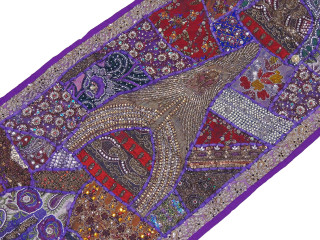 "Purple Beaded Sari Patchwork Tapestry - Indian Wall Hanging Sari Runner 60"" x 20"""